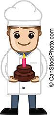 Cartoon Chef Presenting B'Day Cake