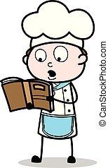 Cartoon Chef Reading Recipe Book Vector Illustration