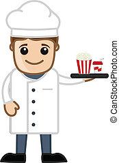 Cartoon Chef Serving Food - Vector