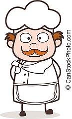 Cartoon Chef Shocking Face Vector Illustration