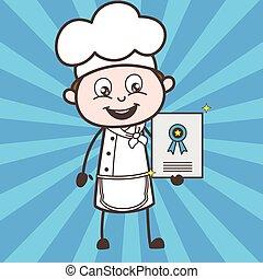 Cartoon Chef Showing Award Certificate Vector Illustration