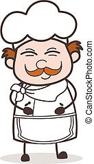 Cartoon Chef Smiling on Joke Vector