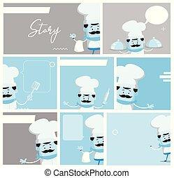 Cartoon Chef story board script Flat Vector Illustration...