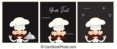 Cartoon Chef story board style Flat Vector Illustration...