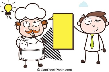 Cartoon Chef Thinking Idea with Young Boy Vector Illustration