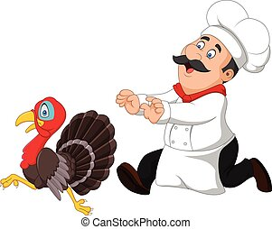 Cartoon chef trying to catch a turkey - Vector illustration...