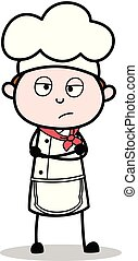 Cartoon Chef Unhappy Face Expression Vector Illustration