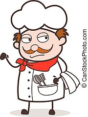 Cartoon Chef Unhappy Face Vector Illustration