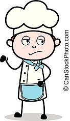 Cartoon Chef Upset Expression Vector Illustration