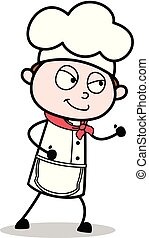 Cartoon Chef Walking with Cunning Smile Vector Illustration
