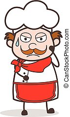 Cartoon Chef Weary Face Expression Vector