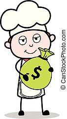 Cartoon Chef with Bag of Money Vector Illustration