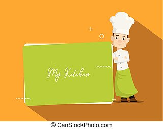 Cartoon Chef with blank banner Flat Vector Illustration Design