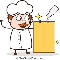 Cartoon Chef with Blank Board and Spice Jar Vector Illustration