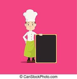 Cartoon Chef  with blank menu notice board Flat Vector Illustration Design