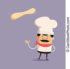 Cartoon Chef with dough Flat Vector Illustration Design