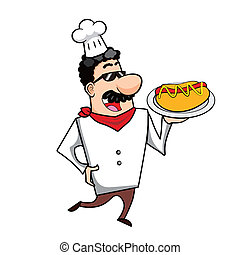 Cartoon Chef with Hot Dog