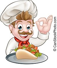 Cartoon Chef with Kebab - A cartoon chef character holding a...