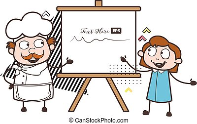 Cartoon Chef with Kid Girl and Painting Canvas Vector Illustration