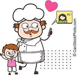 Cartoon Chef with Little Boy and Chatting on Mobile Vector Illustration