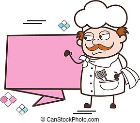 Cartoon Chef with Paper Banner Vector Illustration