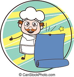 Cartoon Chef with Parchment Banner Vector Illustration