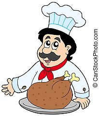 Cartoon chef with roasted meat - isolated illustration.