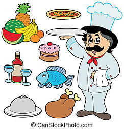 Cartoon chef with various meals - vector illustration.