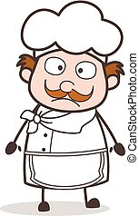 Cartoon Chef Wondering Face Vector Illustration