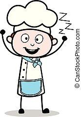 Cartoon Chef Yawning Vector Concept