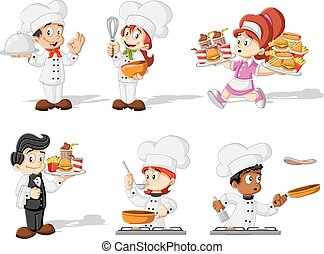 Cartoon chefs cooking, waitress and waiter holding tray with...