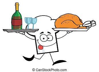 Cartoon Chefs Hat Character Running With Tray Of Wine And...