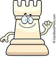 Cartoon Chess Rook Waving - A cartoon illustration of a rook...