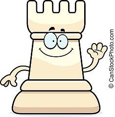 Cartoon Chess Rook Waving - A cartoon illustration of a rook...