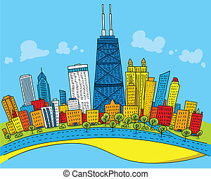 Cartoon Chicago - Cartoon skyline of downtown Chicago,...
