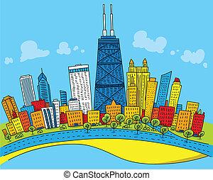 Cartoon Chicago - Cartoon skyline of downtown Chicago, ...