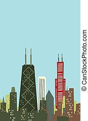Cartoon Chicago Skyline