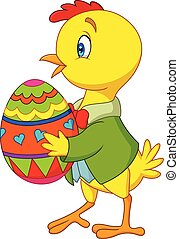Cartoon chick holding a decorated Easter egg