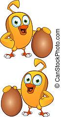 Cartoon Chick Holding An Egg