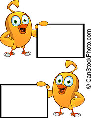 Cartoon Chick Holding Blank Board