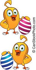Cartoon Chick Holding Easter Egg