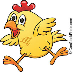 cartoon chicken 06 - vector cartoon yellow funny chicken...