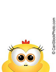 Cartoon chicken. Card for Easter. Easter card design template.