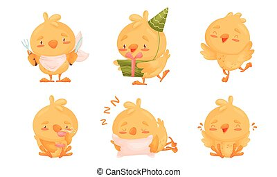 Cartoon Chicken Character Drinking Hot Tea and Sleeping Vector Set