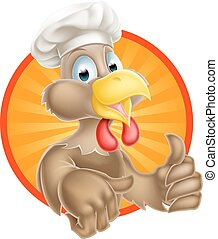 Cartoon Chicken Chef - A cartoon chicken mascot wearing a...