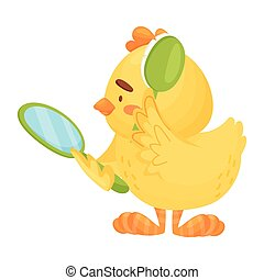 Cartoon chicken combing. Vector illustration on a white background.