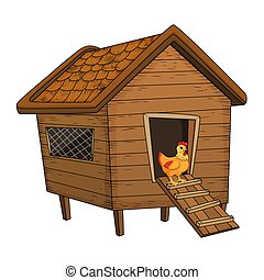 cartoon chicken coop and hen isolated on white background
