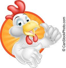 Cartoon Chicken Design - A cartoon chicken mascot giving a...