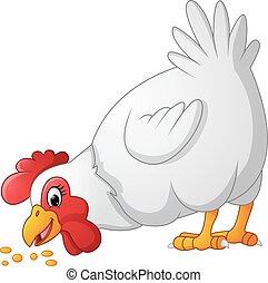 Cartoon chicken eating seeds - Vector of illustration...