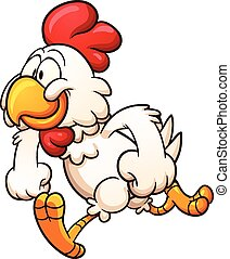 Cartoon chicken - Running cartoon chicken. Vector clip art...